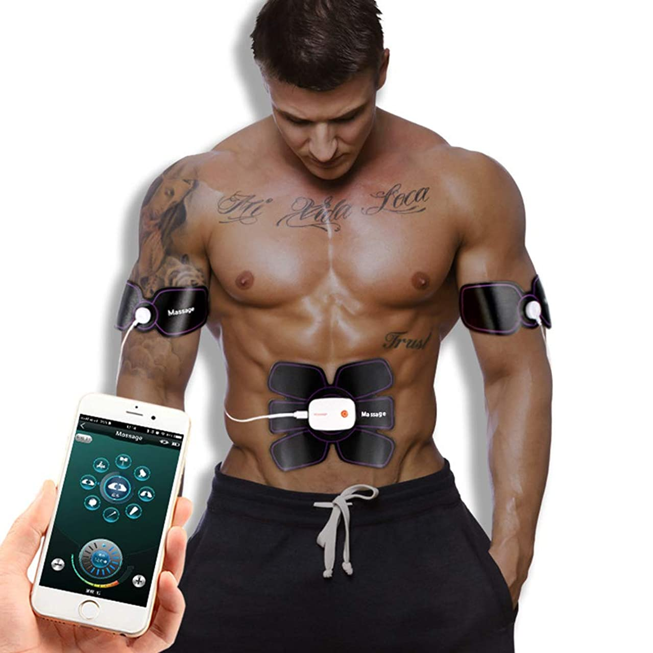 カートンミシンナイロンスマートフォンブルートゥースAPP腹部ステッカーEMS筋肉刺激装置USB電気体重減少運動フィットネスマッサージャーユニセックスに適用IOSとAndroidシステム