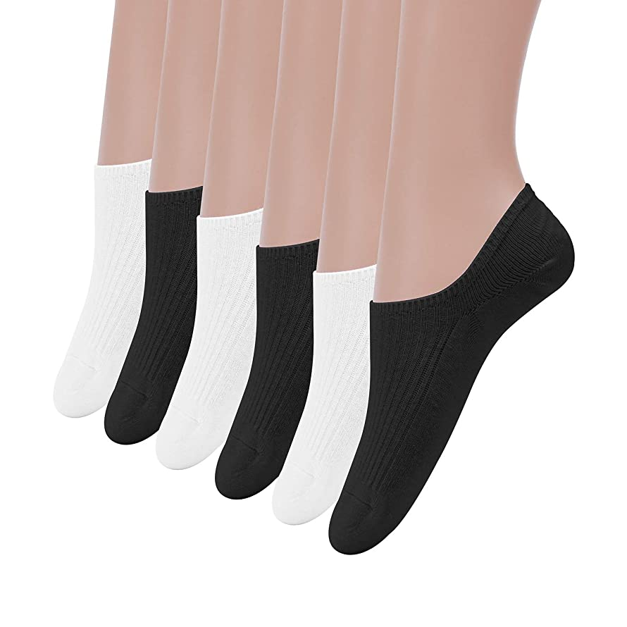 No Show Socks,DianaWu Women Girls Combed Cotton Casual No Show Socks Non Slip Flat Boat Line