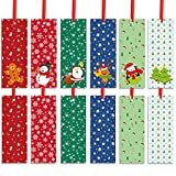 60 Pieces Christmas Bookmarks Christmas Holiday Bookmark for Kids Christmas Character Bookmarks with Santa Snowman Christmas Tree Reindeer Design for Party Favors, Stuffers, Presents