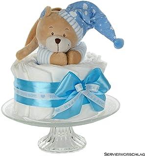 Babyparty /& Taufe Geschenk zur Geburt dubistda/© Windeltorte Jungen in babyblau BOY Spieluhr B/är