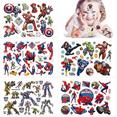 Qemsele Tatuaggi temporanei per Bambini, 10 Sheet 200+ Pcs Unicorno Tatuaggi Finti temporanei Adesivi per bambini Ragazzi festa di compleanno sacchetti regalo Giocattolo (Avengers)