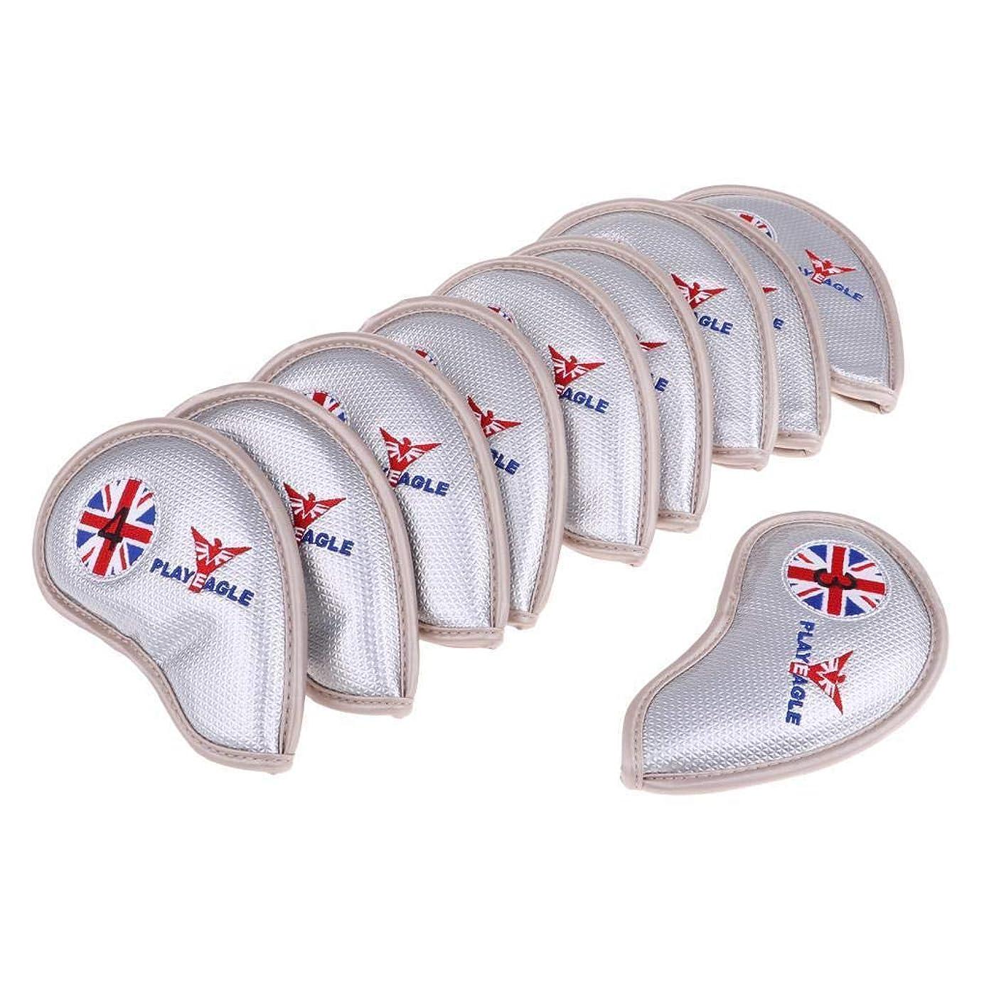 飲み込むチャンバーブランド名ヘッドカバー アイアンカバー イギリス模様刺繍 ゴルフアイアンカバー 高級pu革 防水 番手付 10点セット