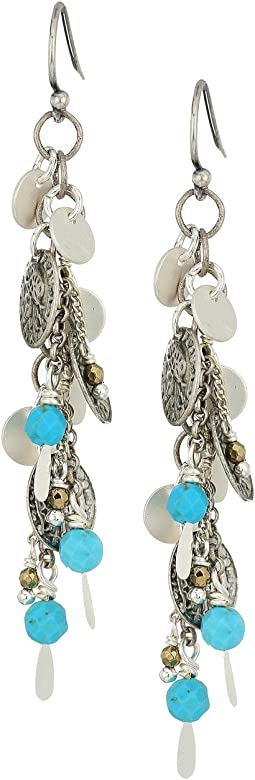 Dangle Coin and Chain Earrings with Semi Precious Stones