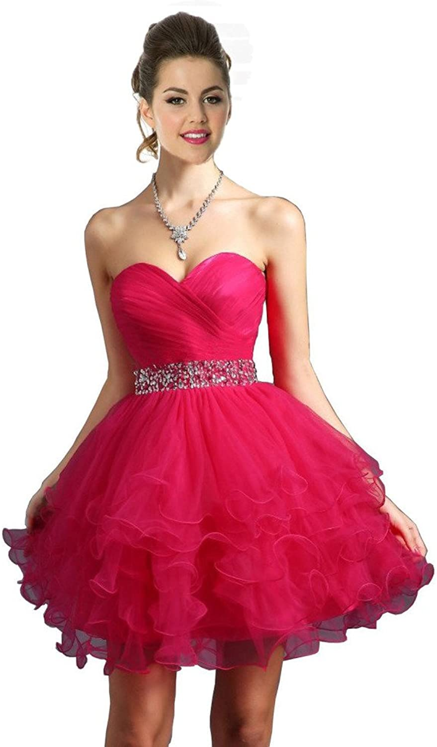 JoyVany Sweetheart Beaded Pageant Dresseses 2016 Short Ruffled Homecoming Dress