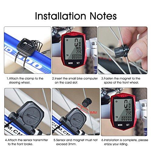 KOROSTRO Compteur de vélo étanche sans fil avec écran LCD Backlight Sans fil Compteur kilométrique Compteur de vélo Compteur de vélo Compteur de vélo tacho pour vélo Realtime Speed Track et distance
