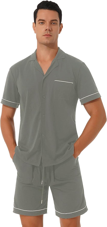 Aislor Men's 2 Piece Pajamas Set Button Down Sleepwear Short Sleeve Shirt Tops with Drawstring Shorts