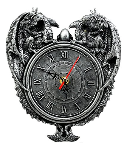 Ebros Decorative Gothic Two Guardian Dragons Wall Clock with Roman Numerals Figurine 8' H Mythical Fantasy Collectible