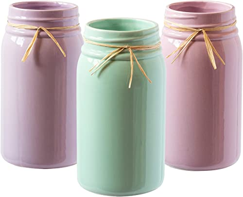 2021 Royal Imports Ceramic Mason jar Decorative Flower vases Ball popular Planter pots Spring Pastel outlet sale Colors, Set of 3, Lavender, Pink, Blue online