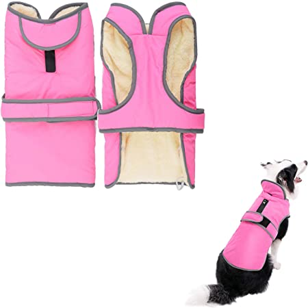 M Beige VIVAGLORY Dog Coat Fleece Jacket Vest for Small Medium Large Dogs Puppy Windproof Warm Clothes for Cold Weather
