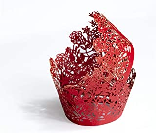 YOZATIA 60pcs Red Rose Lace Cupcake Wrappers Holders, Laser Cut Cupcake Liners Decorative Liners for Wedding Party Birthday Cake Decoration Supplies