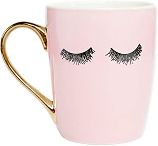 Sweet Water Decor Eyelashes Coffee Mug with Gold Handle | Pink Coffee Mug Lash Mug Eyelash Mug Cute Mugs Eyelashes Mug Wink Mug Girly Coffee Cup, 16 oz (Pink)