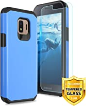 TJS Phone Case for Samsung Galaxy J2 Core/J2 2019/J2 Pure/J2 Dash/J2 Shine, with [Tempered Glass Screen Protector] Dual Layer Hybrid Shockproof Impact Rugged Armor Drop Protection Cover (Blue)