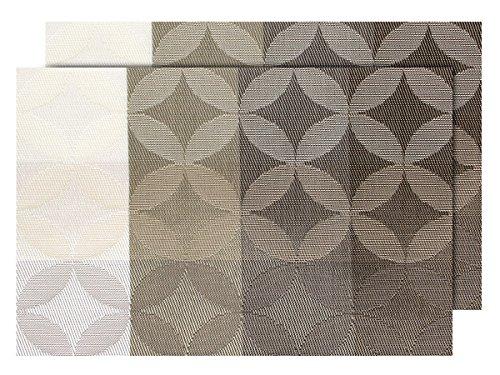Lot de 2 Sets de table design moderne pour décoration sympa de qualité supérieure en PVC tressé: 45 x 30 cm. Le set de table a un bel aspect avec sa matière tissée et brillante Élégante, choisir:TS-128 marron beige