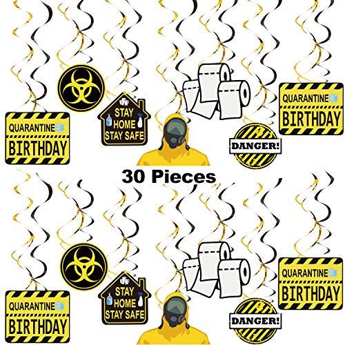 Quarantäne Geburtstag Party Dekorationen Geburtstag Hängend Wirbelt Thema Party Bevorzugungen Soziale Distanz Dekor Gefahr Zeichen für Bleib zu Hause Geburtstagsfeier Lieferungen, 30 Stücke