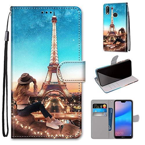 Miagon Flip PU Leder Schutzhülle für Huawei P20 Lite,Bunt Muster Hülle Brieftasche Case Cover Ständer mit Kartenfächer Trageschlaufe,Turm Mädchen
