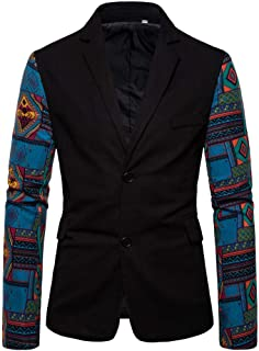 New!!! ❤Kauneus❤ Men's Print Two Button Suit Dress Ethnic Style Party Fashion Slim Blazer Suit