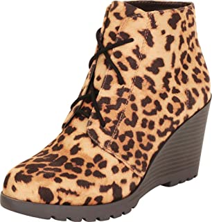 Cambridge Select Women's Lace-Up Lug Sole Chunky Platform Wedge Heel Ankle Bootie
