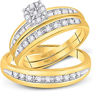 Mia Diamonds 10k Yellow Gold Round Diamond Cluster Mens Womens Matching Halo Trio Wedding Bridal Ring Set (.45cttw) (I2-I3)- Available Sizes From - 5 to 11
