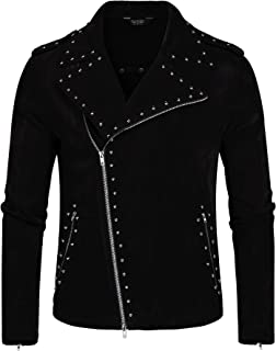 Men's Velvet Rivet Design Punk Rock Motorcycle Biker Jacket Zipper Coat