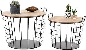 LIFA LIVING Lot de 2 Tables Basses gigognes Moderne, avec Dessus Amovible et Compartiment de Rangement, métal Noir et Bois, Style scandinave