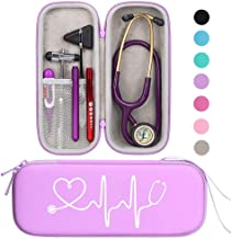 BOVKE Travel Carrying Case for 3M Littmann Classic III, Lightweight II S.E, MDF Acoustica Deluxe Stethoscopes - Extra Room for Medical Bandage Scissors EMT Trauma Shears and LED Penlight, Purple