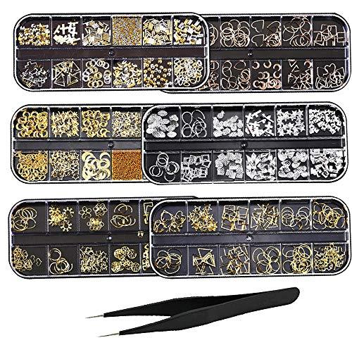 6 Boxen Nagel Kunst Strass Flache Rückseite Diamanten Kristalle Perlen Edelsteine Gemischt Bunt für Nagel Kunst Dekorationen DIY Design
