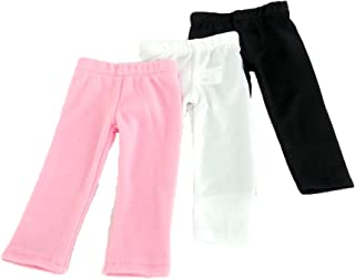 White Plain, Plain Black, and Pink Plain Leggings Set of 3 fits 18 Inch Doll
