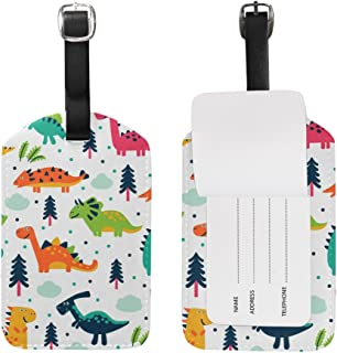Cooper Girl Jurassic Dinosaur Luggage Tag Travel ID Label Leather for Baggage Suitcase 1 Piece