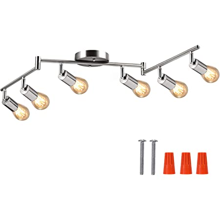 6-Light Adjustable LED Dimmable Track Lighting Kit by AIBOO,Flexible Foldable Arms,Satin Nickel Kitchen,Hallyway Bed Room Lighting Fixture, E26 Base Bulbs not Included