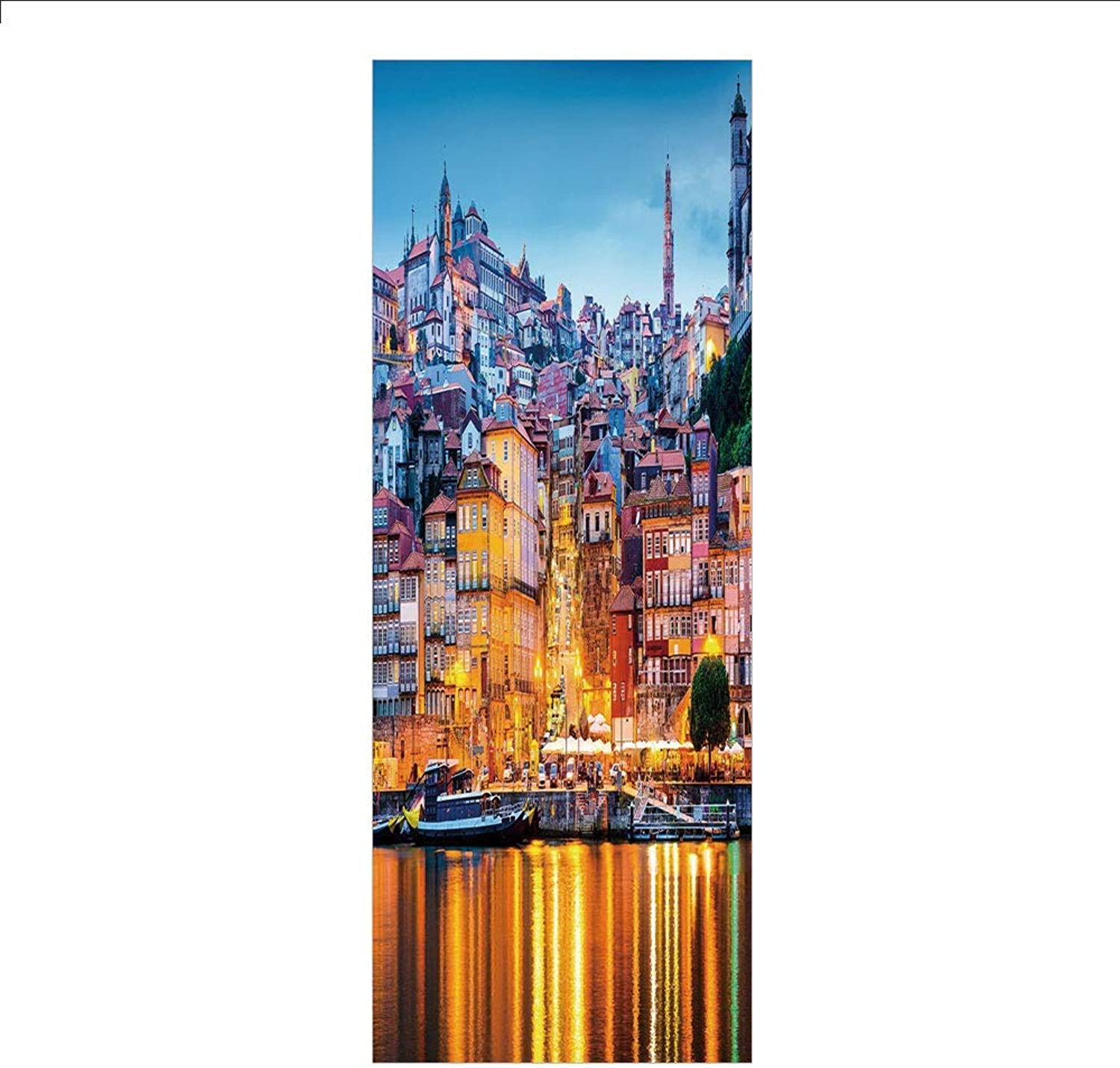 Yaoni 3D Decorative Film Privacy Window Film No Glue,European,Medieval Town Coast Portuguese Porto Old City Historical Twilight Scenery Decorative,Ginger Light bluee,for Home&Office