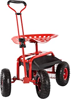 Peach Tree Garden Cart Rolling Adjustable Degree Swivel Seat Lawn Yard Patio Wagon Scooter for Planting, Adjustable Handle 360 Degree Swivel Seat Red