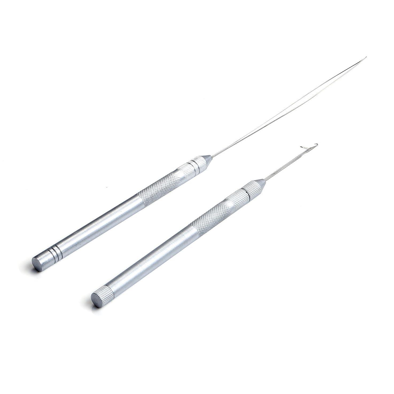 データベース距離追い付くNeitsi(ネイティス)エクステ用ニードル エクステ用ループ 編み針 通し 針 金属製ハンドル ビーズ針 ウィッグ用工具セット ヘアスタイリング用品 2本セット