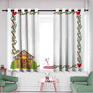 Mannwarehouse Thermal Insulated Grommet Blackout Curtains, Thermal Insulated Kids Christmas Frame Featuring Sweet Candy Canes Hearts and a Gingerbread Cookie House Multicolor