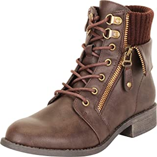 Cambridge Select Women's Knit Cuff Lace-Up Moto Chunky Block Low Heel Ankle Bootie