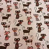 Stoff Meterware Baumwolle Katzen Karo beige rot schwarz