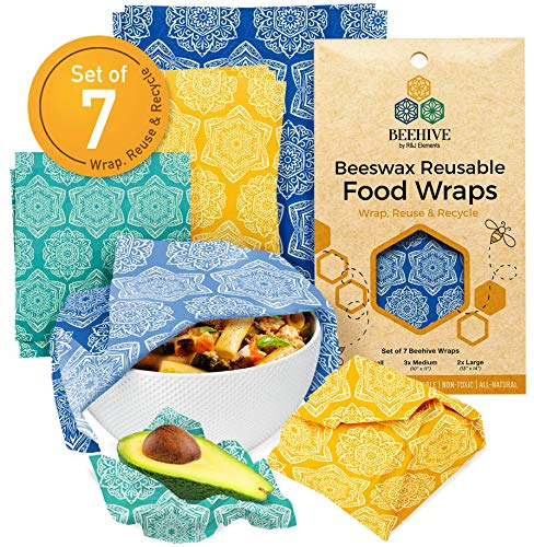 BEEHIVE Reusable Beeswax Food Wraps – 7 Pack Organic Food Wrap for Bread amp Sandwich Wrapping – Eco Friendly Sustainable amp Zero Waste Biodegradable Bees Wax Wrap for Food Cover amp Storage
