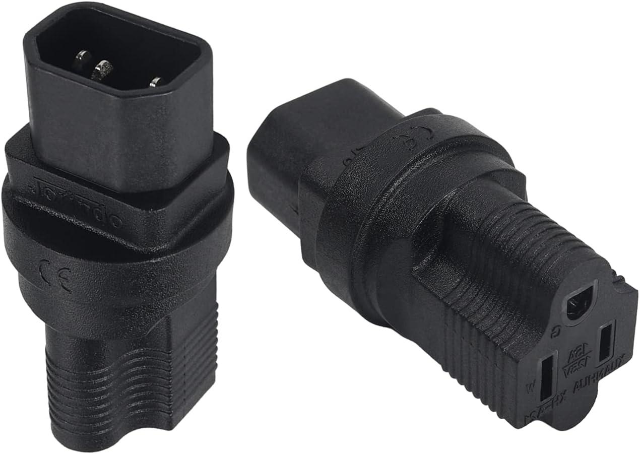 Jutagoss IG-320 Male C14 to 5-15R Power Socket Adapter Converter AC110-250V 10A Power Plug Adapter 2Pcs