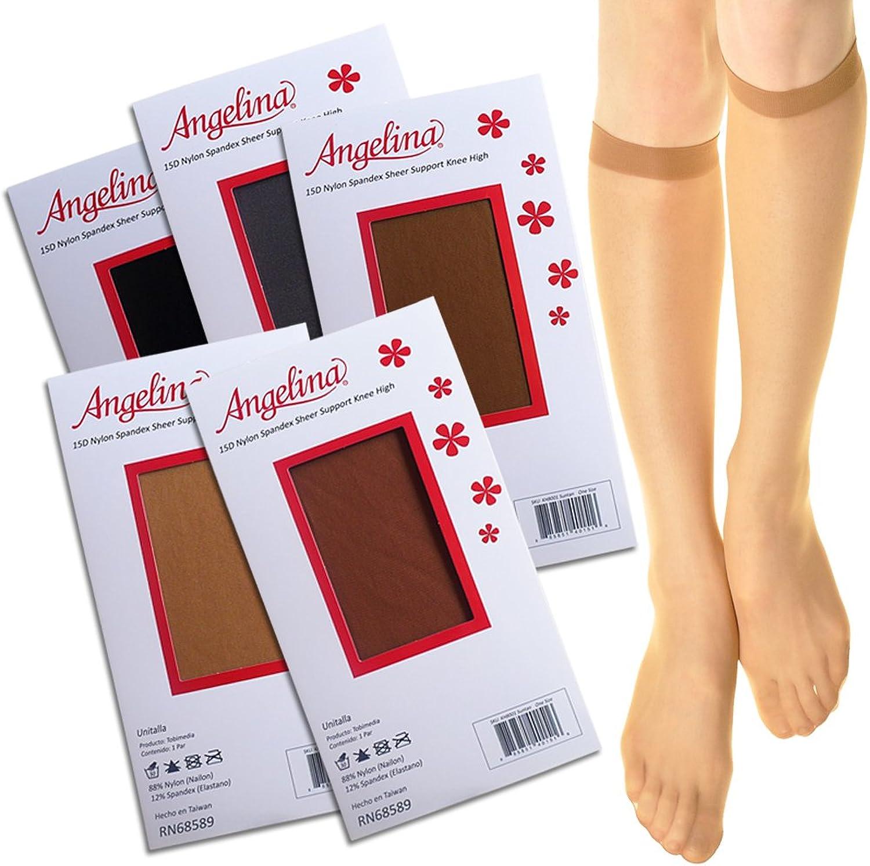 Angelina Sheer Nylon Spandex Knee High Stockings (pack of 6 pairs)
