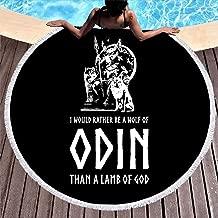 MINNOMO Toalla de Playa Redonda borlas, Divertido Lobo de Odin ...
