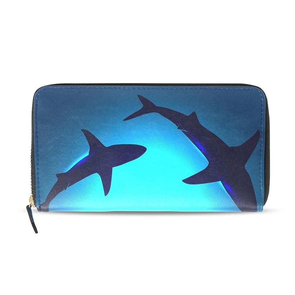 無能学ぶ周囲マキク(MAKIKU) 長財布 サメ柄 イルカ柄 動物 財布 レディース 大容量 ラウンドファスナー カード入れ レザー 革 小銭入れ プレゼント対応