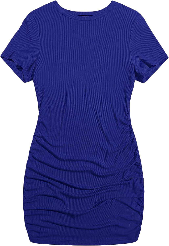 Romwe Women's Plus Size Ribbed Short Sleeve Ruched Mini Bodycon T Shirt Dress