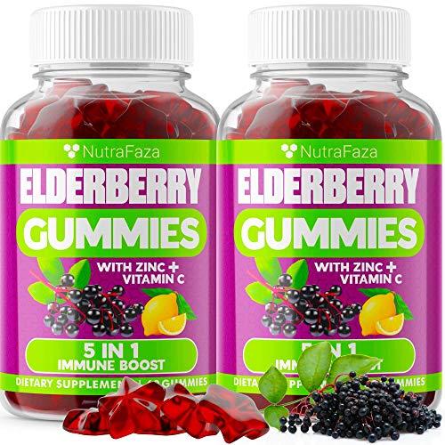(2 Pack) Sambucus Elderberry Gummies with Zinc and Vitamin C for Immune Support - Pectin Based - Black Elderberry Chewable Gummies for Kids and Adults - Gluten-Free - 120 Immunity Gummies