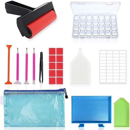 Queta 60Pcs 5D DIY Kit herramientas de pintura de diamantes con caja de EVA Almacenamiento port/átil de Artesan/ía de botella y bolsa multi-cuadro para Organizador Diamantes,Joyas Manicura de U/ñas