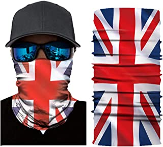 DUOLIFU British Flag Seamless Rave Bandana Neck Gaiter Balaclava Face Mask Headwear for Women Men Face Scarf Outdoor Sports