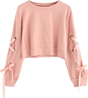 SweatyRocks Women's Casual Lace Up Long Sleeve Pullover Crop Top Sweatshirt
