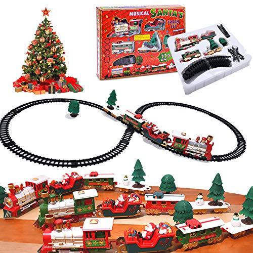 XINGXINGFAN Christmas Train Set Juego de Trenes navideños Santa Express Delivery Juegos de Trenes Polar Express niños con Sonido y luz realistas, Tren eléctrico.