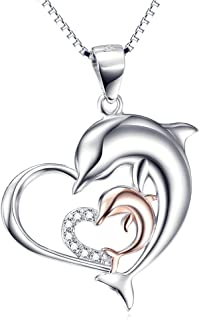 Rose Gold Dolphin Necklace 925 Sterling Silver Two-Tone Eternal Love Heart Double Dolphin Pendant with Box Chain 18