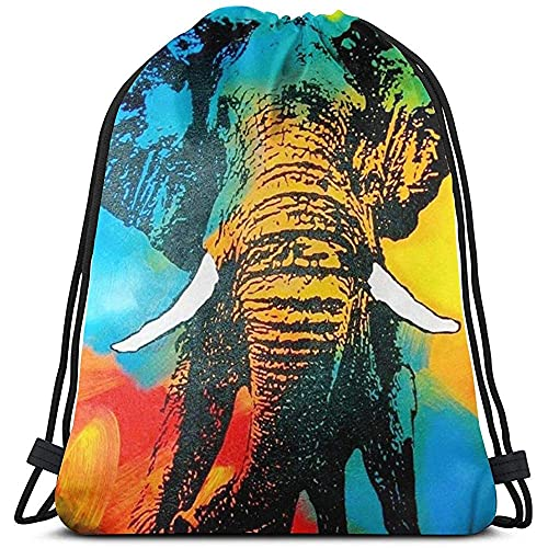 Mochila con cordón de elefante, arco iris, mochila deportiva a granel para acampar, tirar, bolsa de almacenamiento, gimnasio, mochila con cordón para adultos, pícnics
