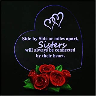 Giftgarden LED Light Hearts Gift for Sisters with Rose Base, Sister Birthday Gift Cake Topper