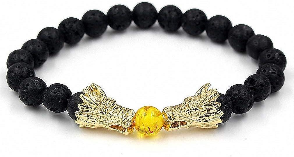 Bead Bracelets for Men and Women Natural Black Lava  White Howl